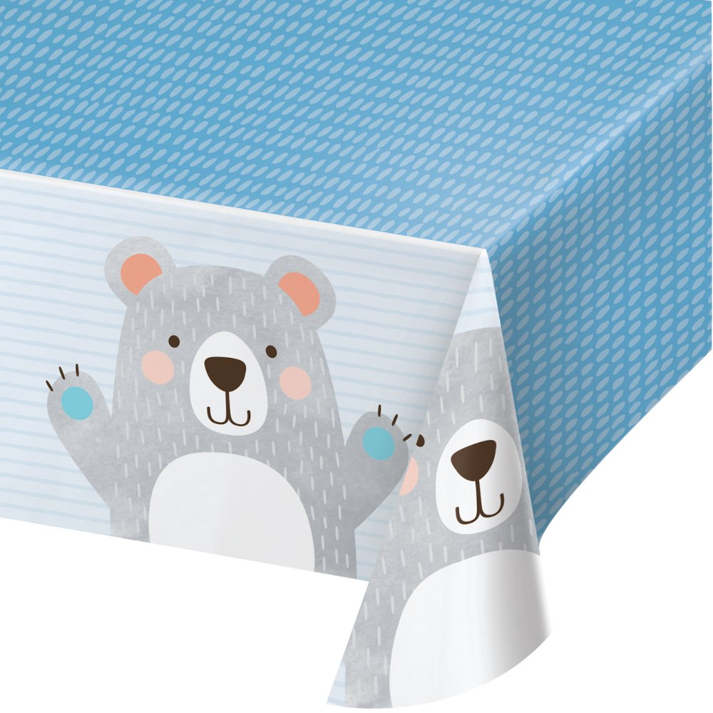 1st Birthday Bear Tablecover Plastic All Over Print 137cm x 259cm