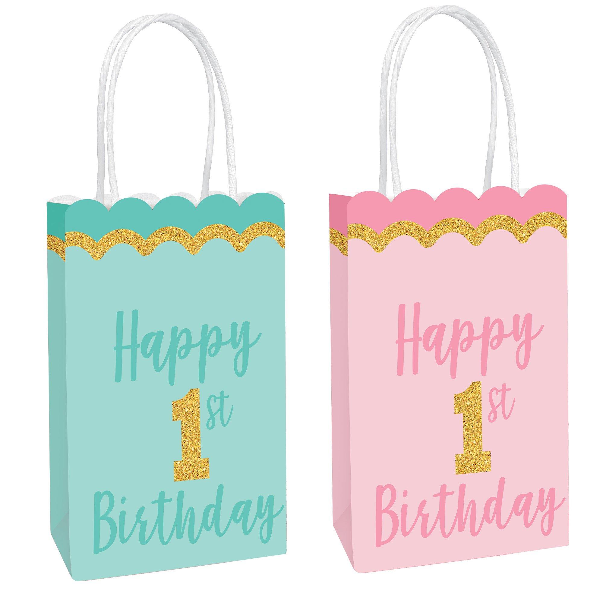 1st Birthday Glittered Kraft Bags
