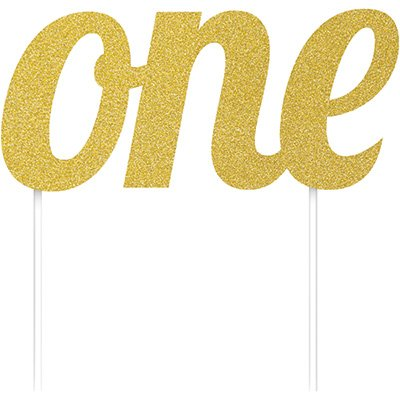 Cake Topper one Gold Glittered