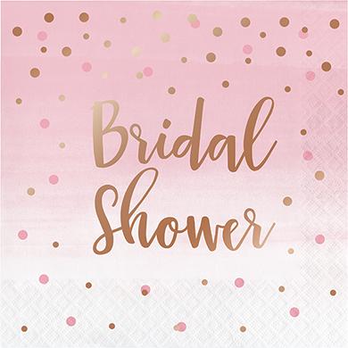 Rose All Day Lunch Napkins Bridal Shower Rose Gold Foil