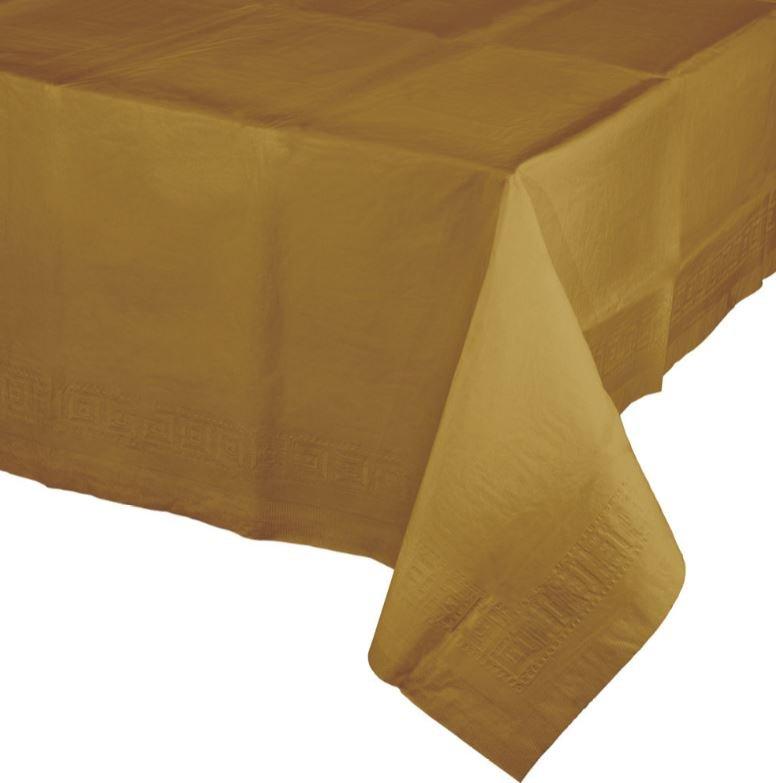 Glittering Gold Tablecover Tissue & Plastic Back 137cm x 274cm