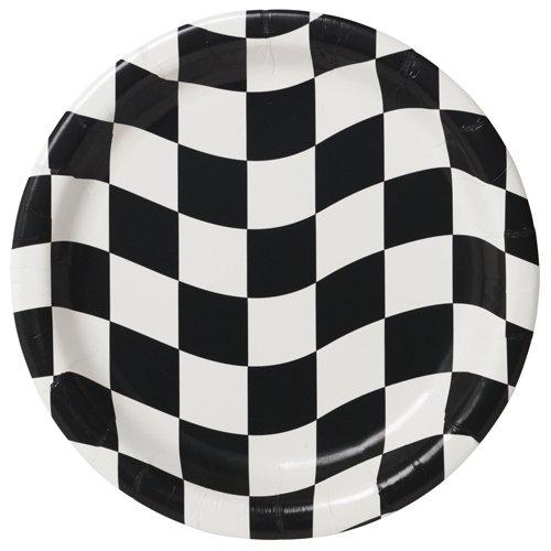 Black & White Check Lunch Plates Paper 18cm