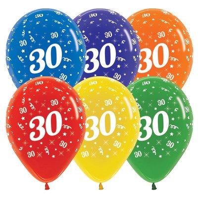 Sempertex 30cm Age 30 Crystal Assorted Latex Balloons, 25PK