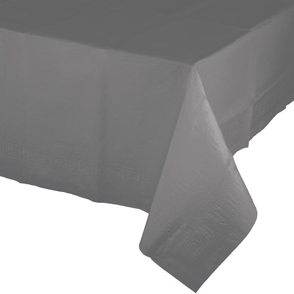Glamour Gray Tablecover Tissue & Plastic Back 137cm x 274cm