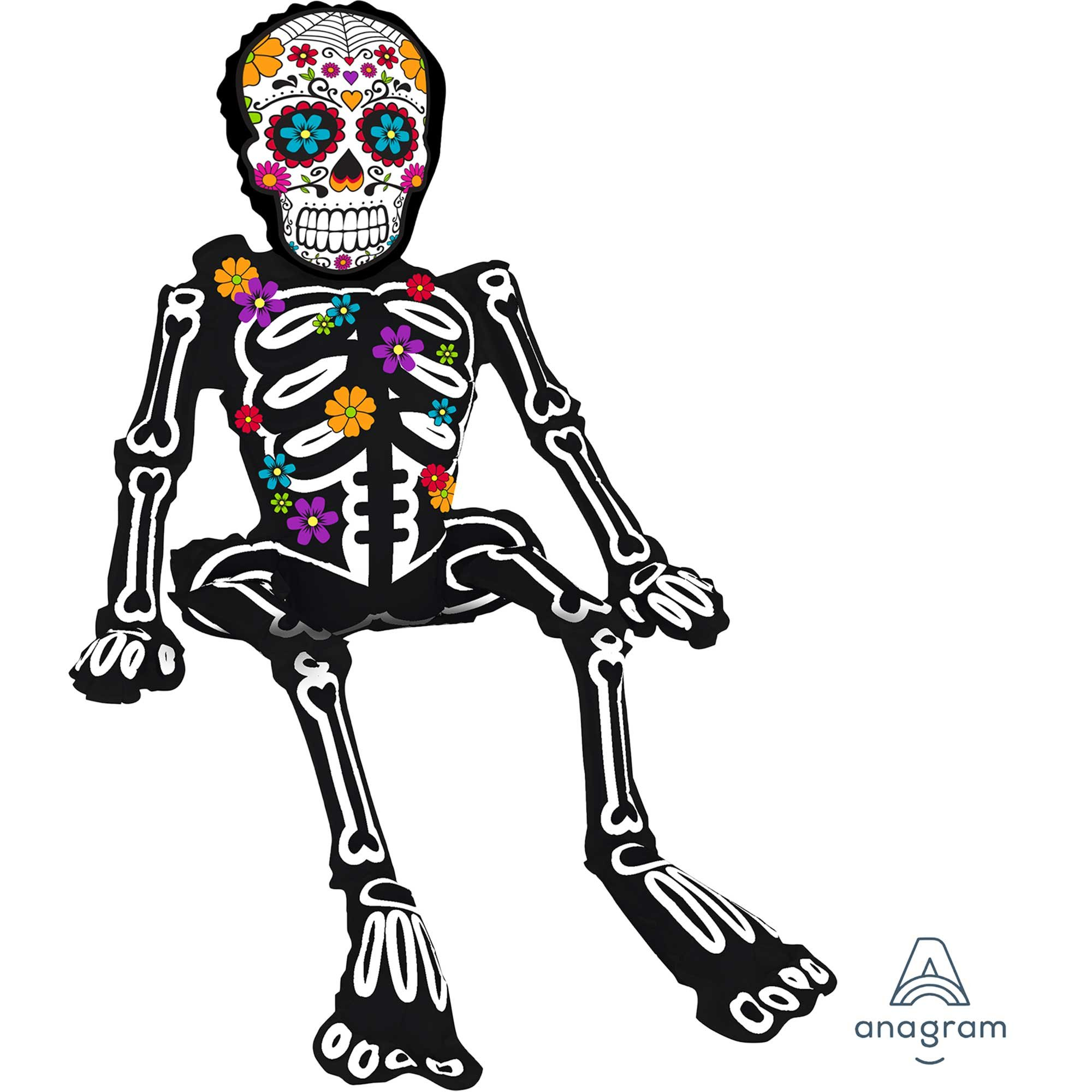 CI: Multi-Balloon Sitting Day of the Dead Skeleton A75