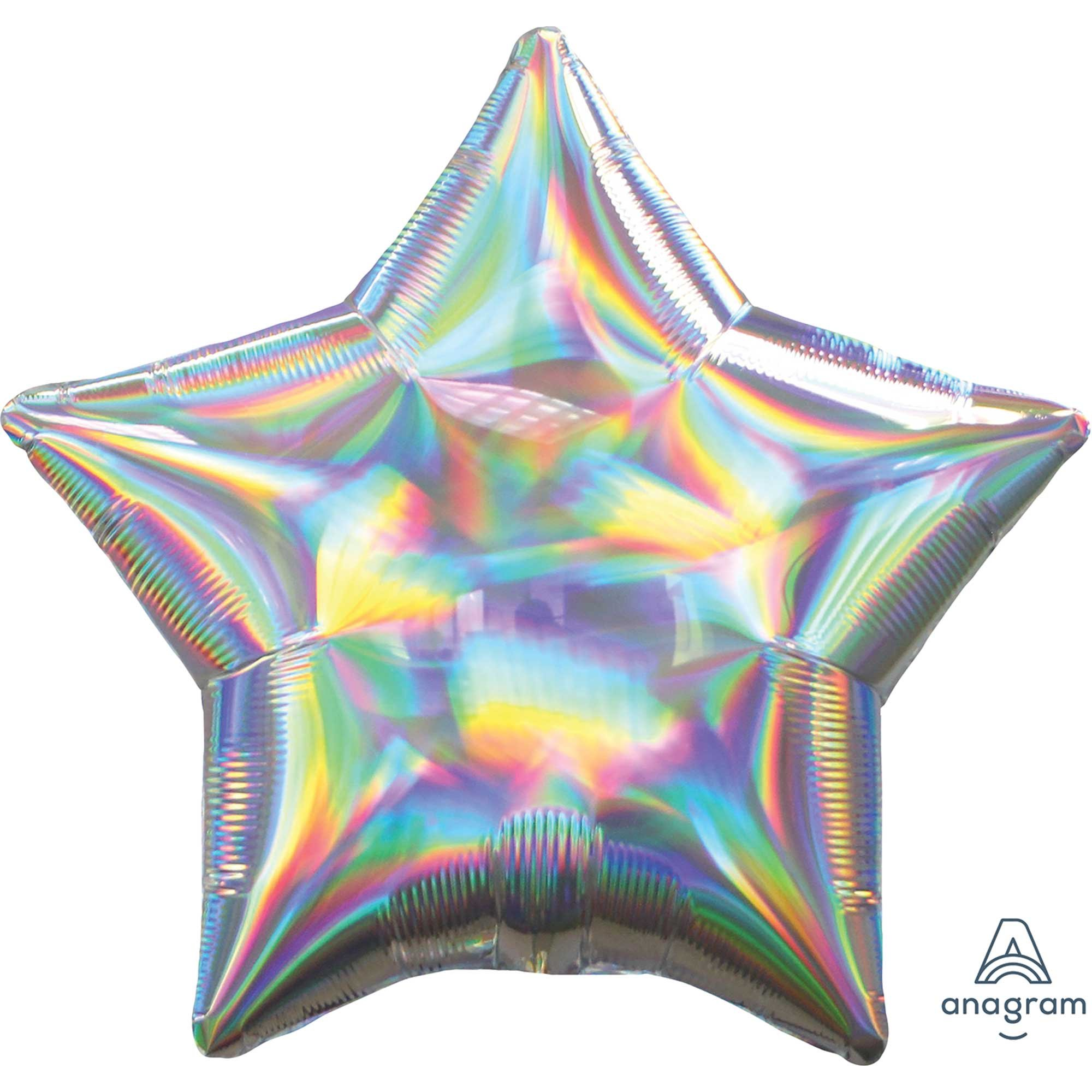 45cm Standard Holographic Iridescent Silver Star S40