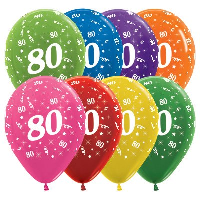 Sempertex 30cm Age 80 Metallic Assorted Latex Balloons, 25PK