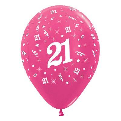Sempertex 30cm Age 21 Metallic Fuchsia Latex Balloons, 25PK