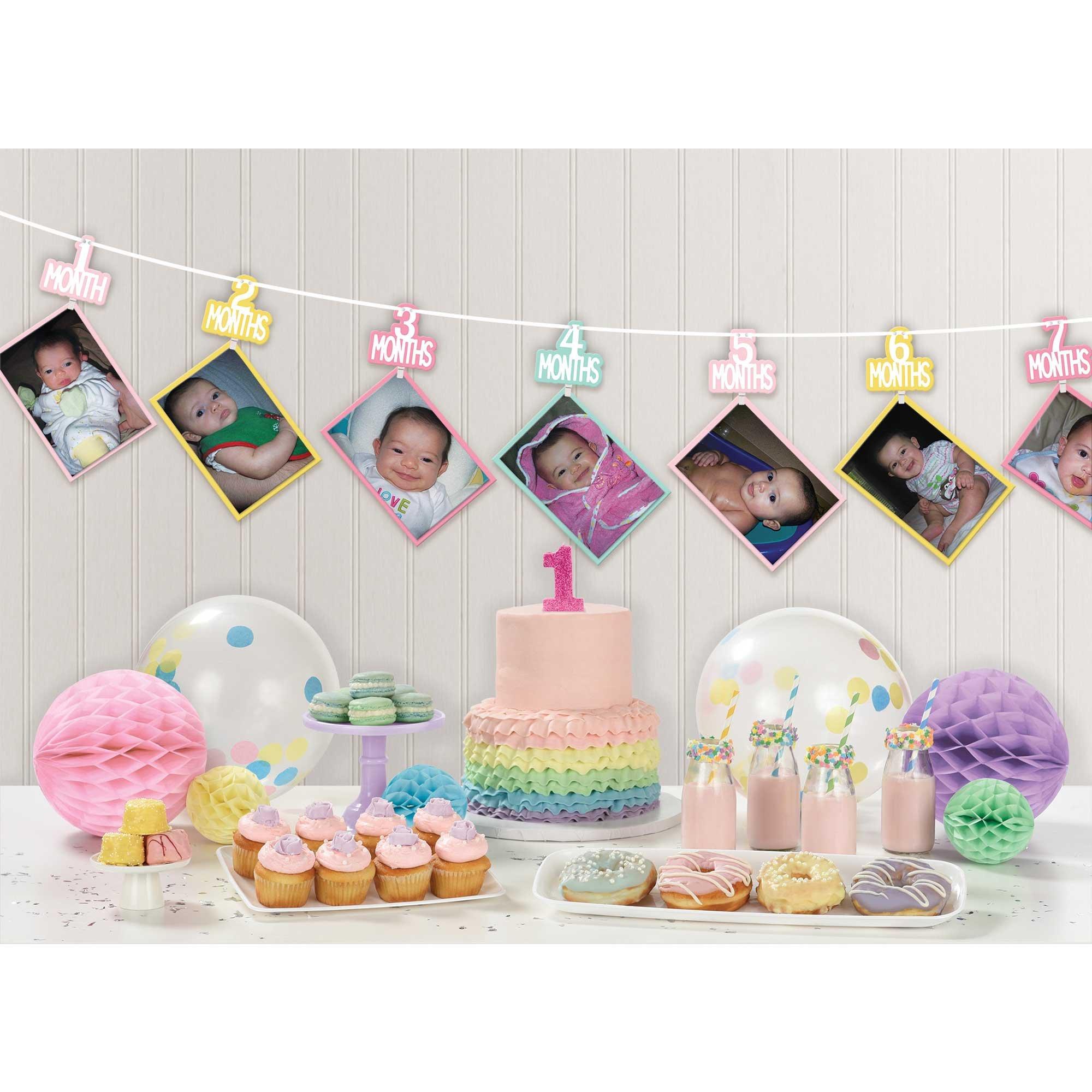 1st Birthday Girl Photo Ribbon Garland