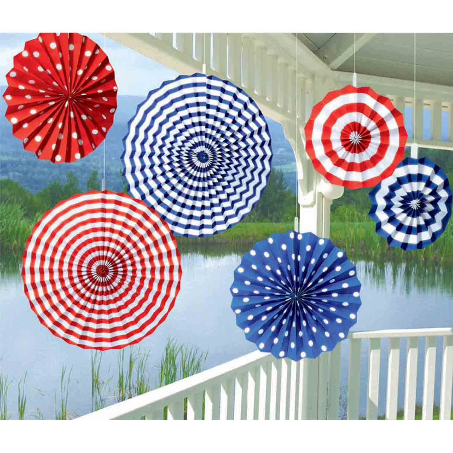 American Summer Fan Decorations - Printed Paper