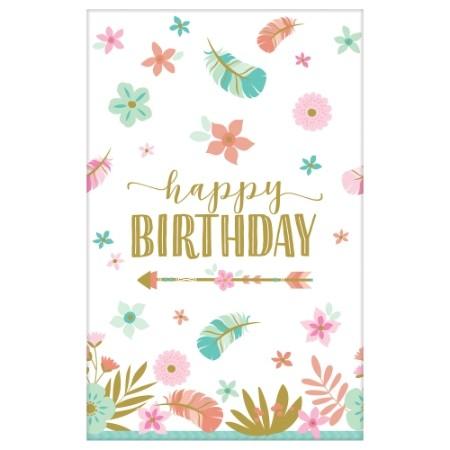 Boho Birthday Girl Tablecover Paper