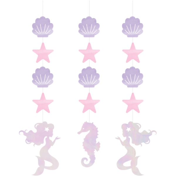 Mermaid Shine Iridescent Hanging String Cutouts