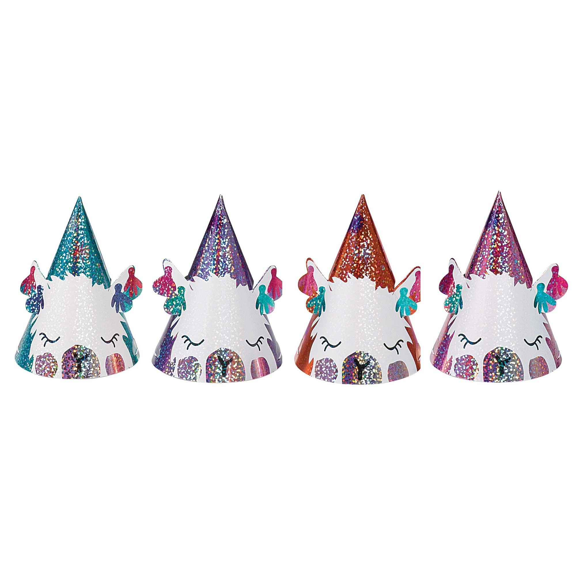 Llama Fun Mini Party Foil Cone Hats