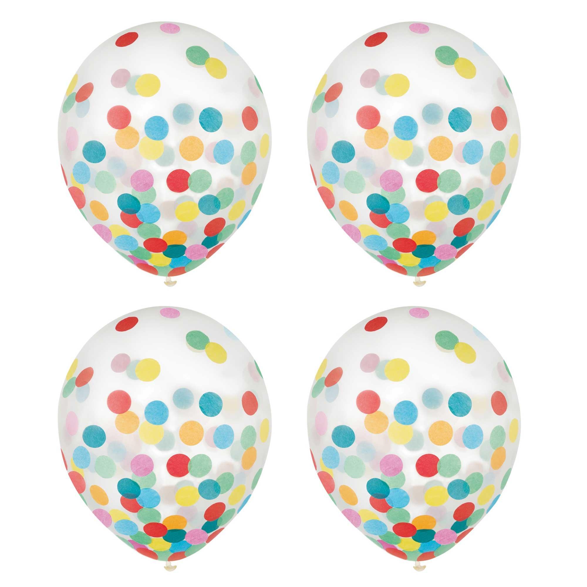 Latex Balloons 30cm & Confetti Multi-Coloured