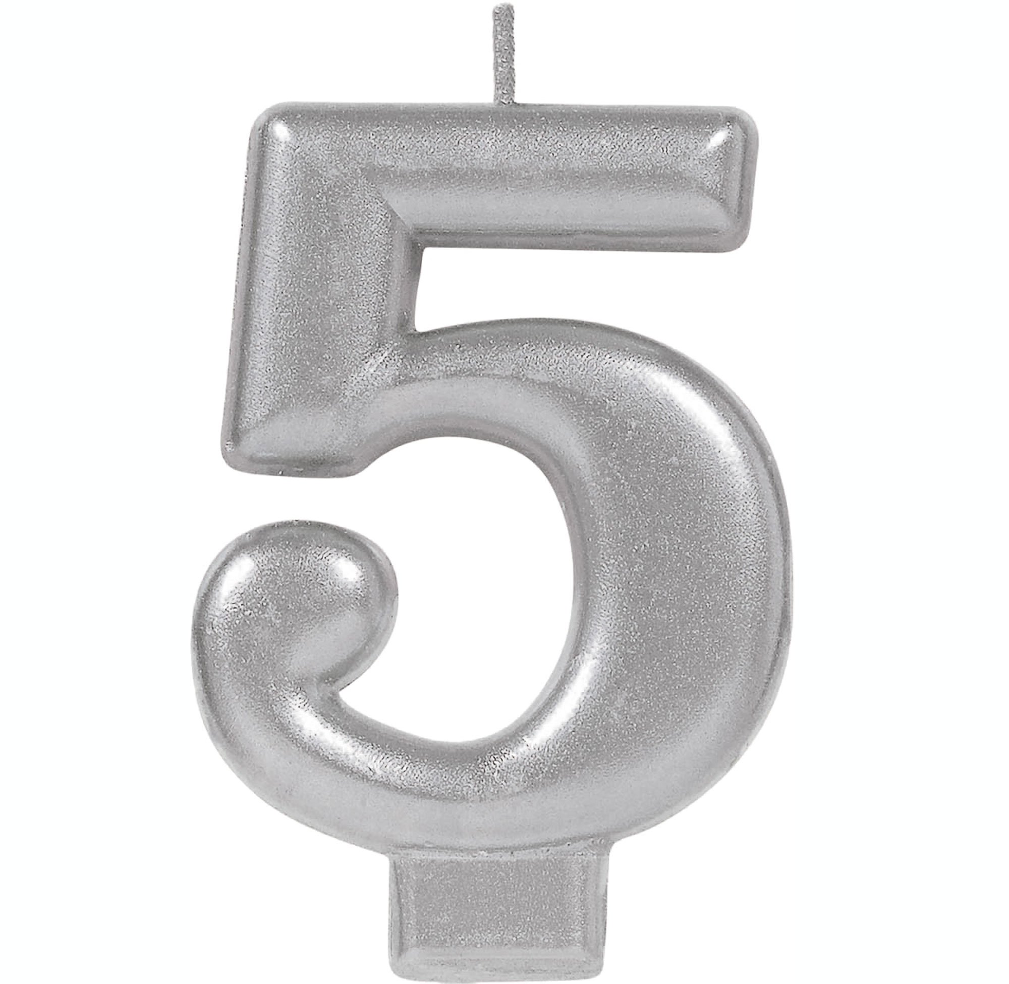 #5 Silver Metallic Numeral Moulded Candle
