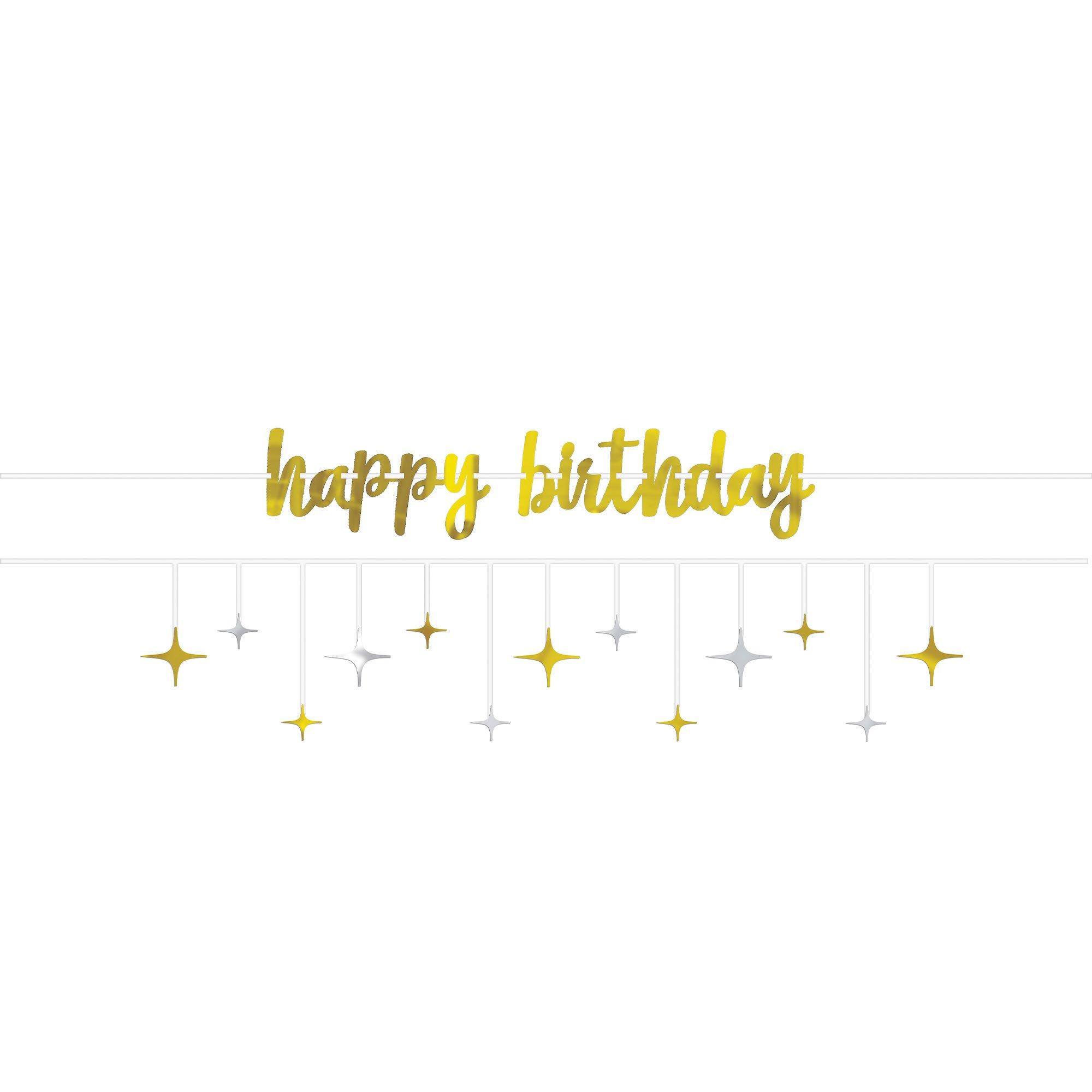 Happy Birthday & Stars Foil Ribbon Banner Kit Silver & Gold
