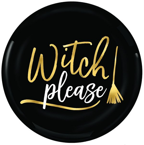 Witch Please Plates Hot Stamped Plastic
