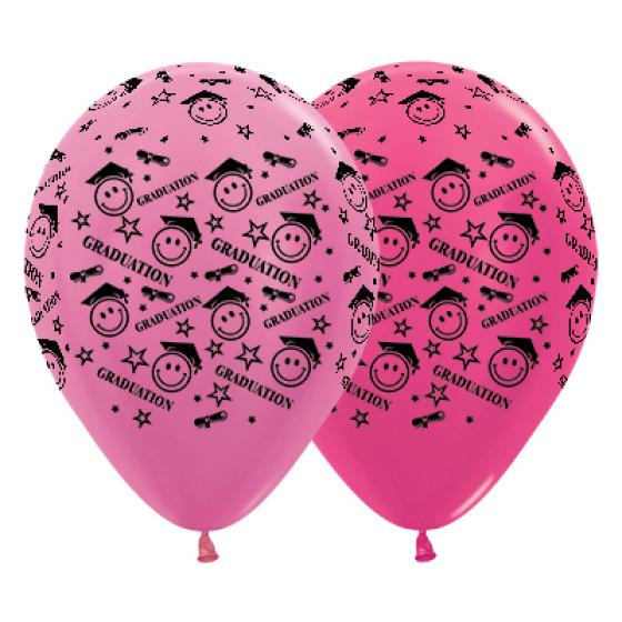 Sempertex 30cm Graduation Smiley Faces Satin Pearl & Metallic Fuchsia Latex Balloons, 25PK