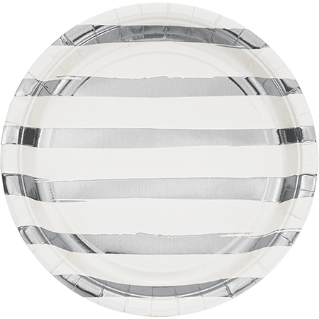 Touch of Colour White & Silver Foil Striped Dinner Plates Paper 22cm