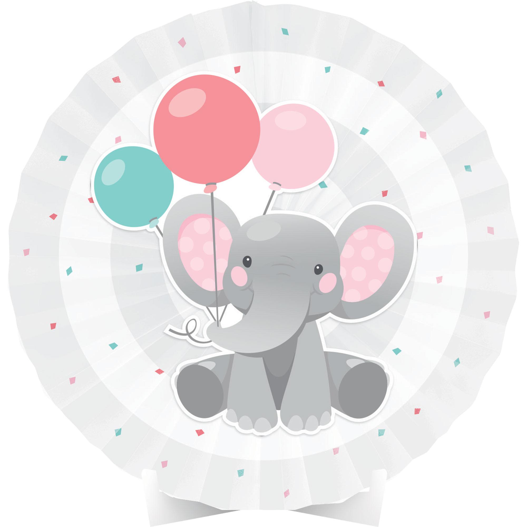 Enchanting Elephant Girl Centrepiece Paper Fan 40cm