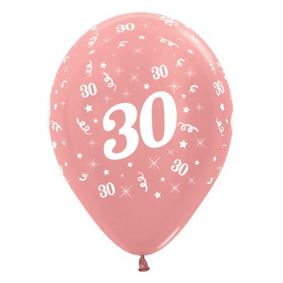 Sempertex 30cm Age 30 Metallic Rose Gold Latex Balloons, 25PK