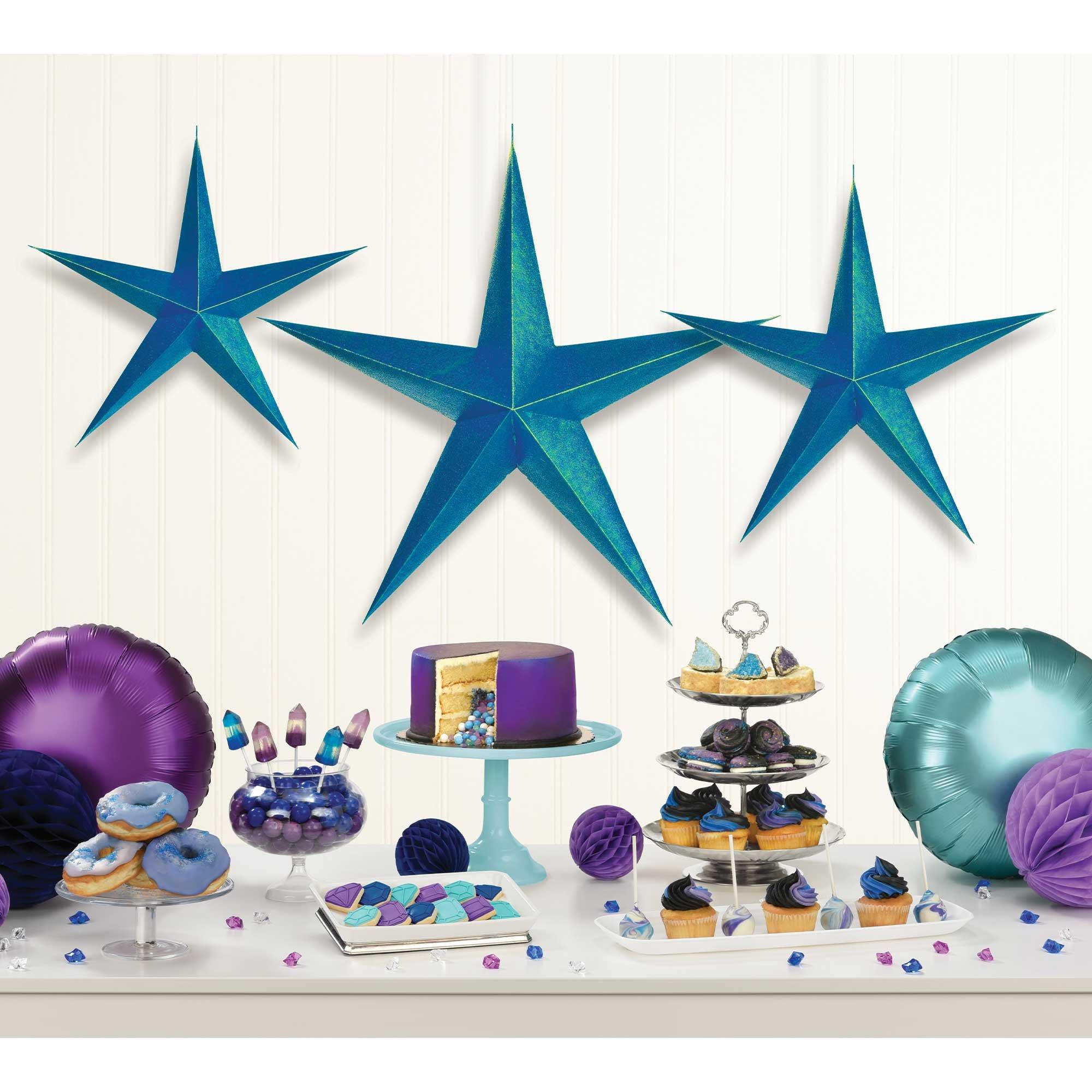 Sparkling Sapphire Hanging 3D Stars Decorations