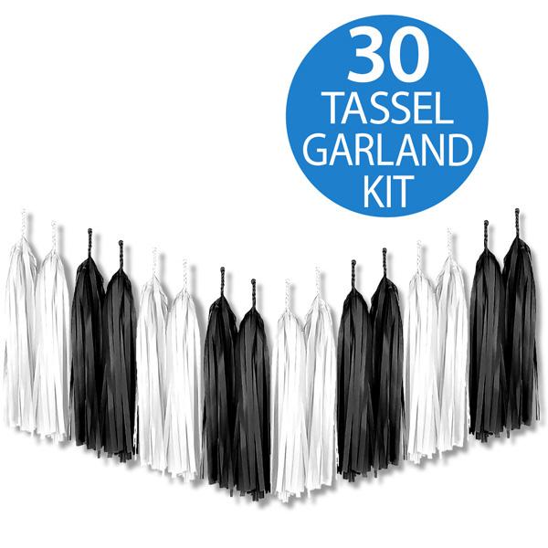 Tassel Garland Tissue Paper Black & White