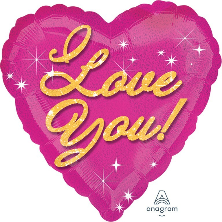 45cm Standard Holographic I Love You Pink Sparkles S55