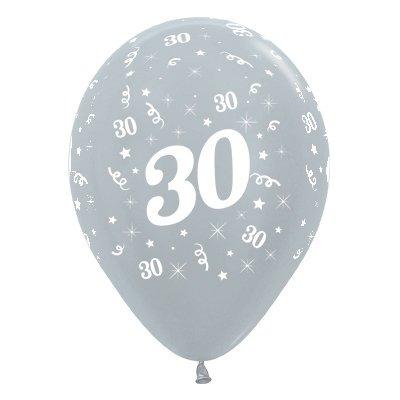 Sempertex 30cm Age 30 Satin Pearl Silver Latex Balloons, 25PK