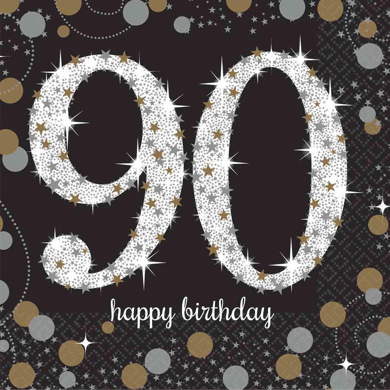 Sparkling Celebration Happy Birthday Beverage Napkins 90th