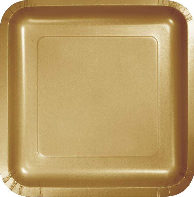 Glittering Gold Square Dinner Plates Paper 23cm