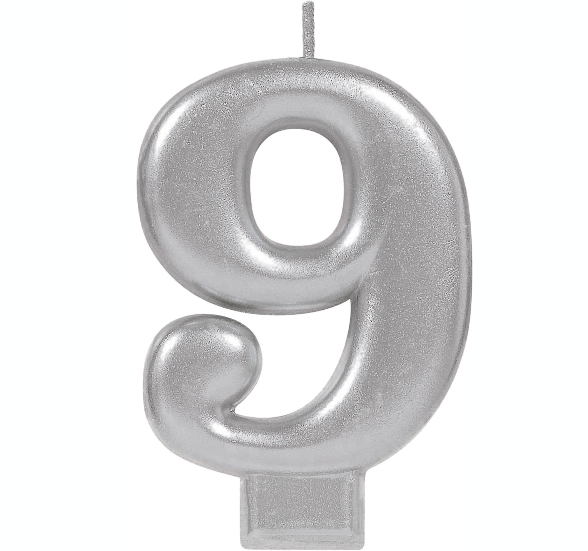 #9 Silver Metallic Numeral Moulded Candle