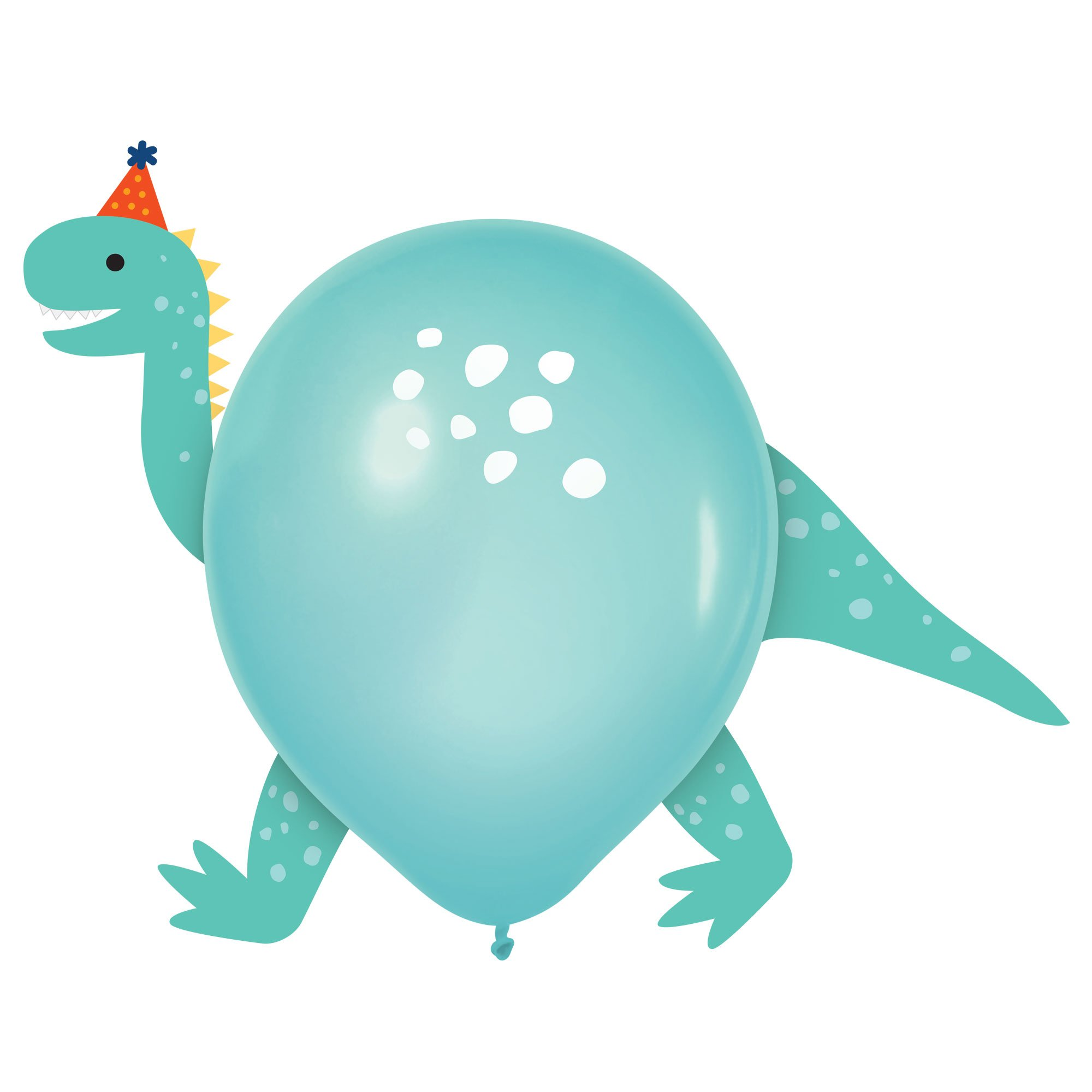 Dino-Mite Party Dinosaurs 30cm Latex Balloons & Paper Adhesive Add-Ons