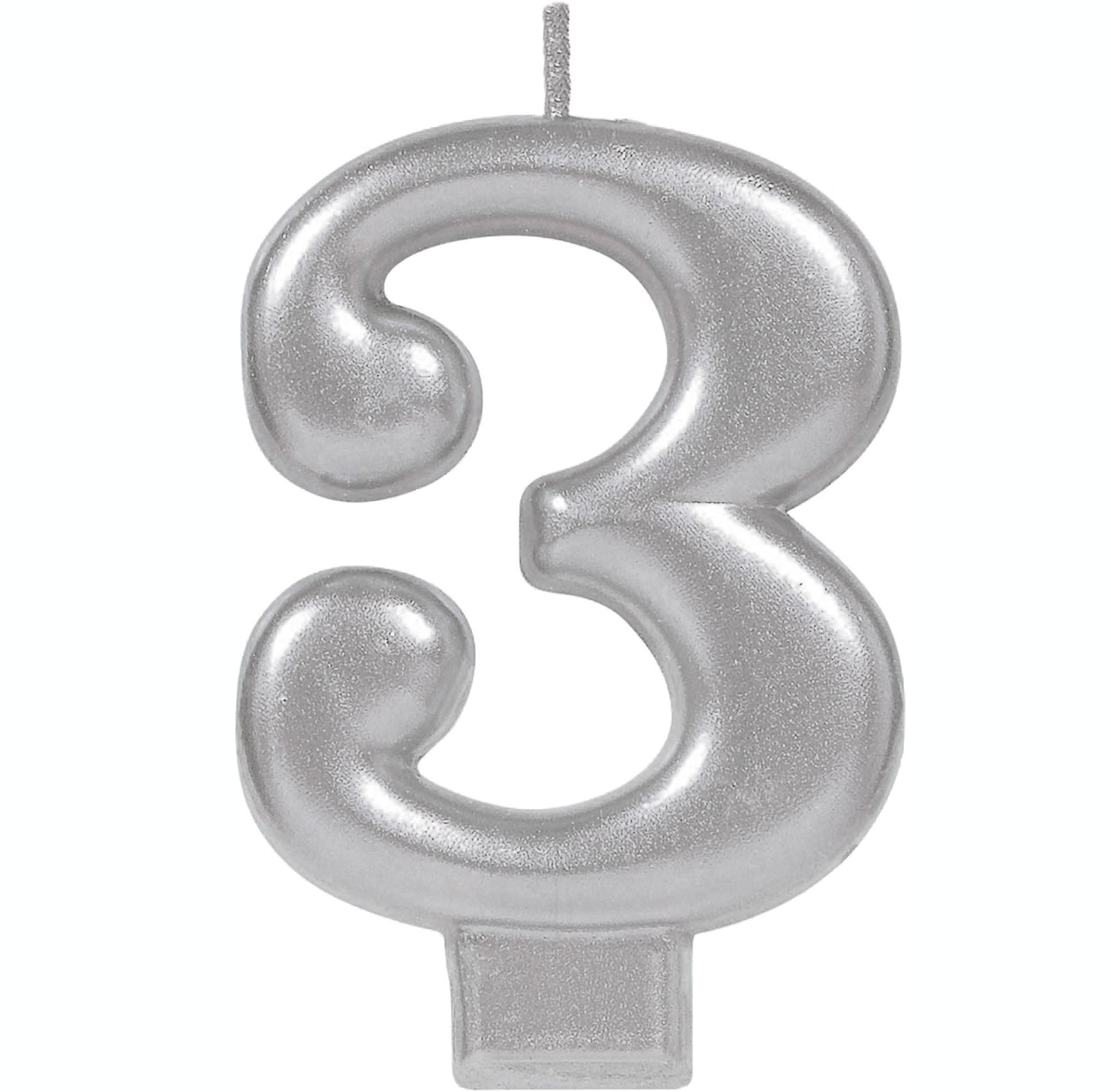 #3 Silver Metallic Numeral Moulded Candle