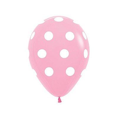 Sempertex 30cm Polka Dots on Fashion Pink Latex Balloons, 12PK