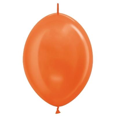Sempertex 28cm Link O Loon Metallic Orange Latex Balloons 561, 25PK