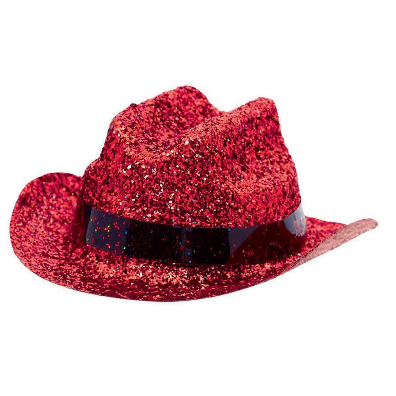 Mini Glitter Cowboy Hat - Red