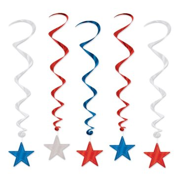 Stars Red, Silver & Blue Hanging Decoration Whirls