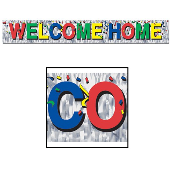 Welcome Home Metallic Fringe Banner