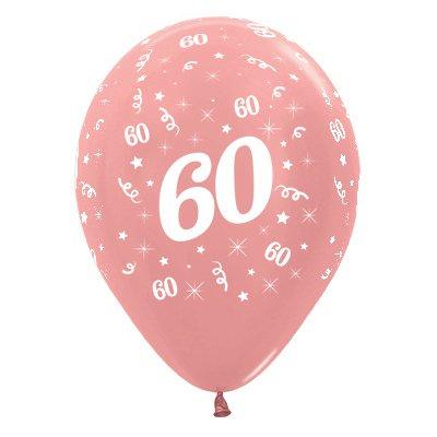 Sempertex 30cm Age 60 Metallic Rose Gold Latex Balloons, 25PK