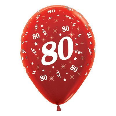 Sempertex 30cm Age 80 Metallic Red Latex Balloons, 25PK