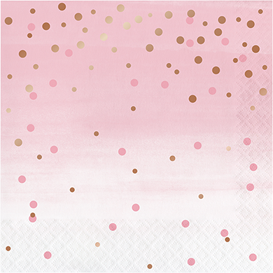 Rose All Day Lunch Napkins Dots Rose Gold Foil
