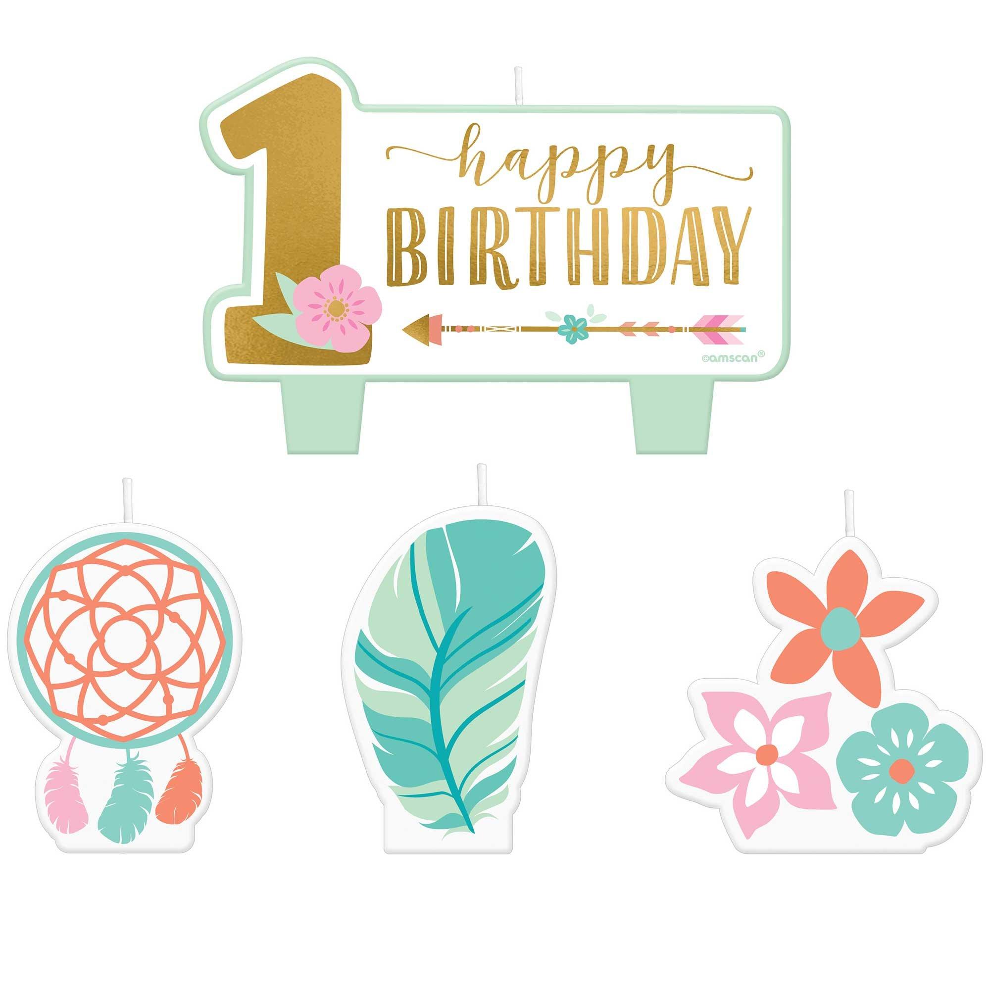 Boho Birthday Girl 1st Birthday Candle Set