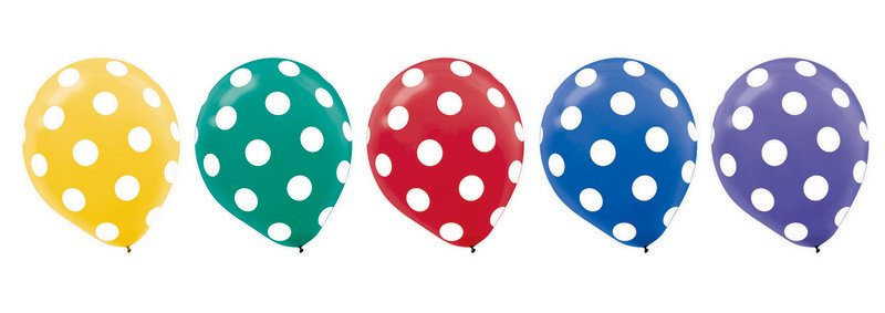"""""""Dots Assorted Primary 12""""""""/30cm Latex Balloons"""