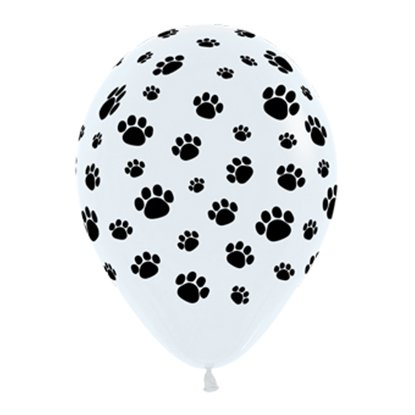Sempertex 30cm Animal Paw Prints Black & White Latex Balloons, 12PK