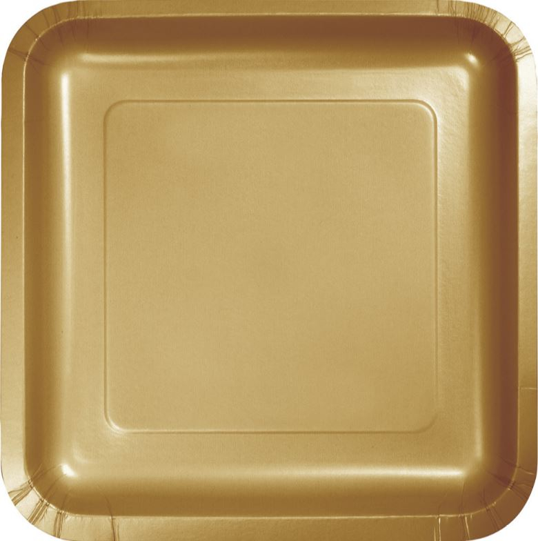 Glittering Gold Square Lunch Plates Paper 18cm