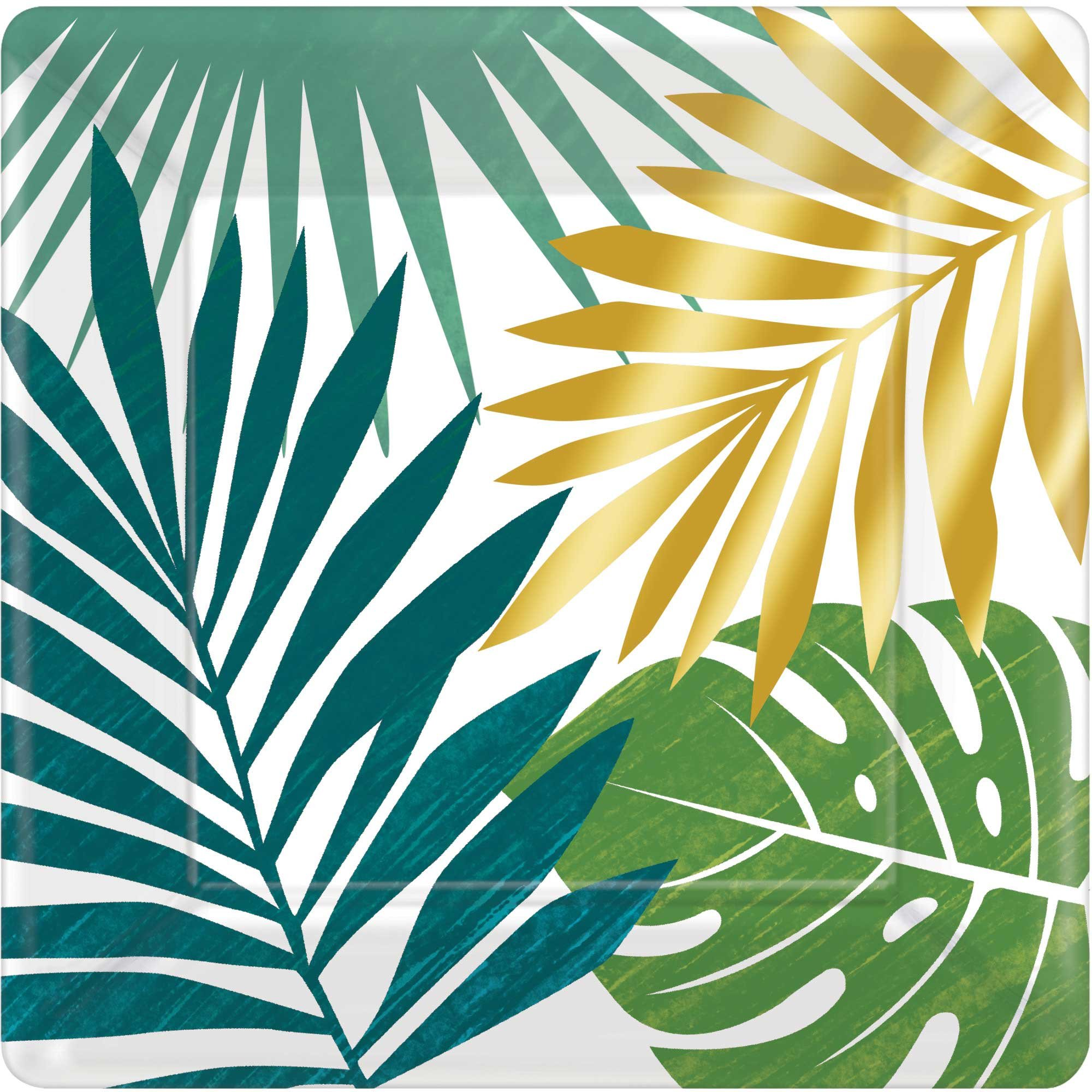 """""""Key West Metallic Square Lunch Plates 7""""""""/ 17cm Palm Leaves"""