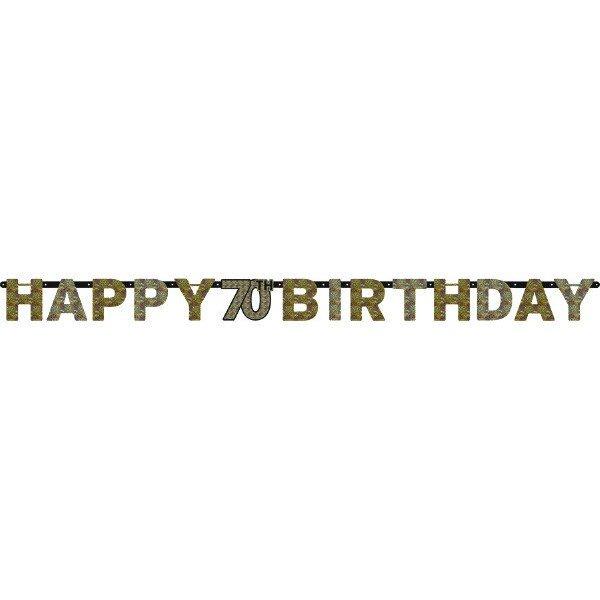 Sparkling Celebration Happy Birthday 70 Prismatic Letter Banner
