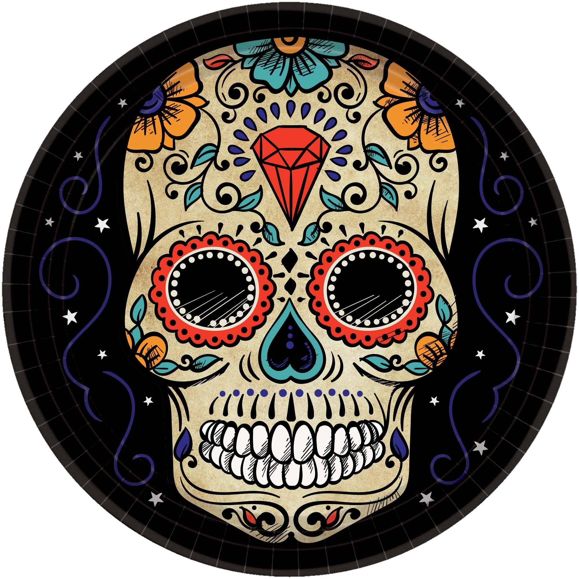 """Sugar Skull 10"""" /26cm Round Paper Plates"