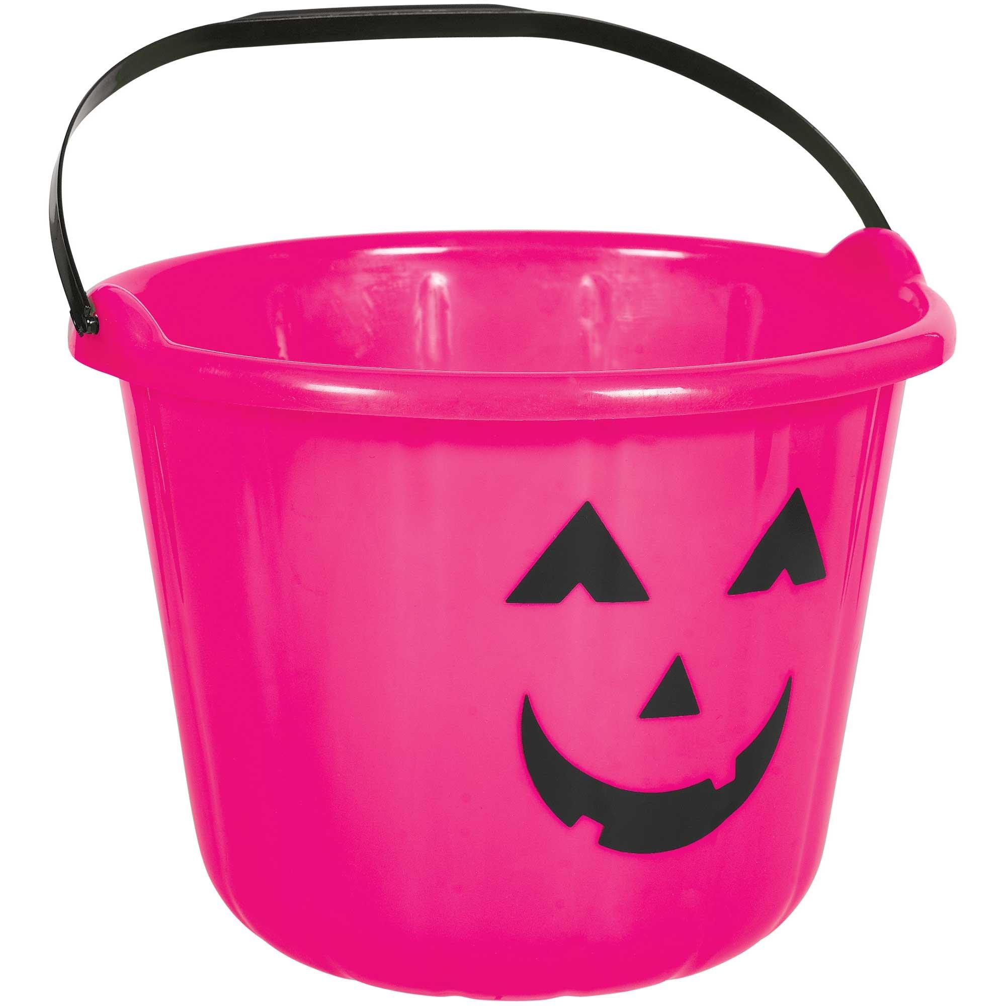 Pumpkin Bucket Favor Container Pink Plastic